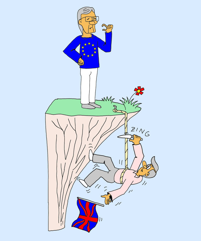 Harter Brexit Karikatur