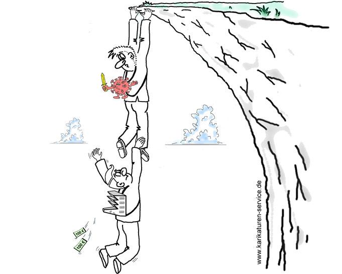 Karikatur Corona Krise, Weltwirtschaftskrise, Rezession, die Krise nach der Krise