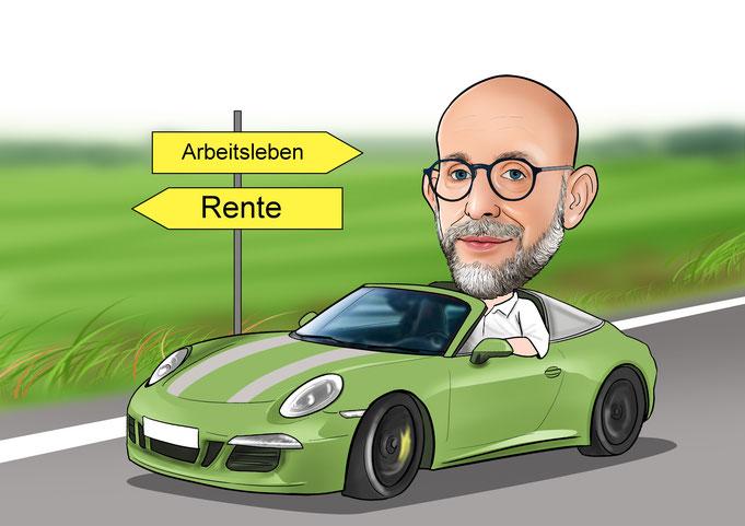Karikatur vom Foto, Rente, Renteneintritt, Abschiedsgeschenk, Porsche