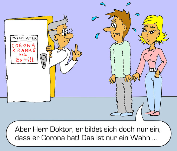 Karikatur Bilder Coronavirus, lustig, Psychiater, Arzt, Corona Krise