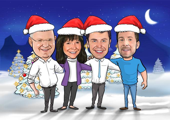 Karikatur vom Foto zeichnen lassen, Weihnachten