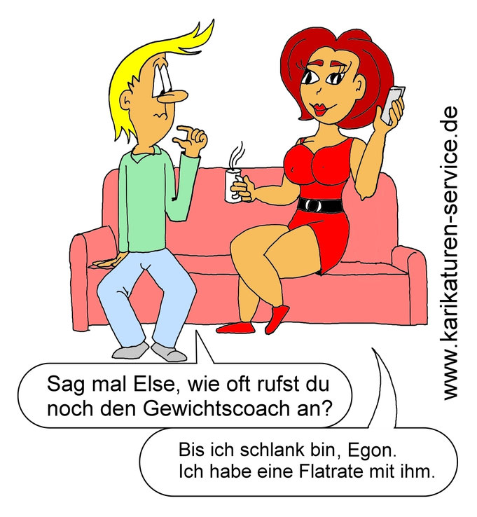 Karikatur für dergewichtscoach.de, Ernährung, Gewicht