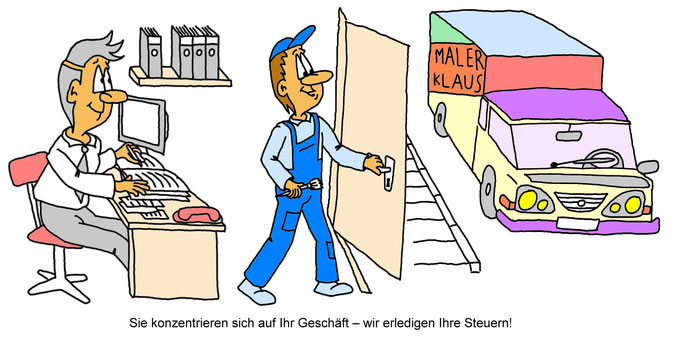 Karikatur Werbeanzeige Steuerberater