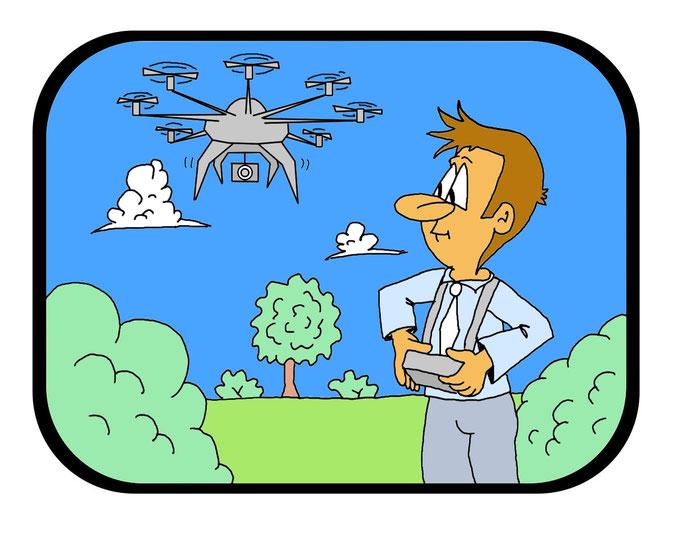Karikatur Drohne