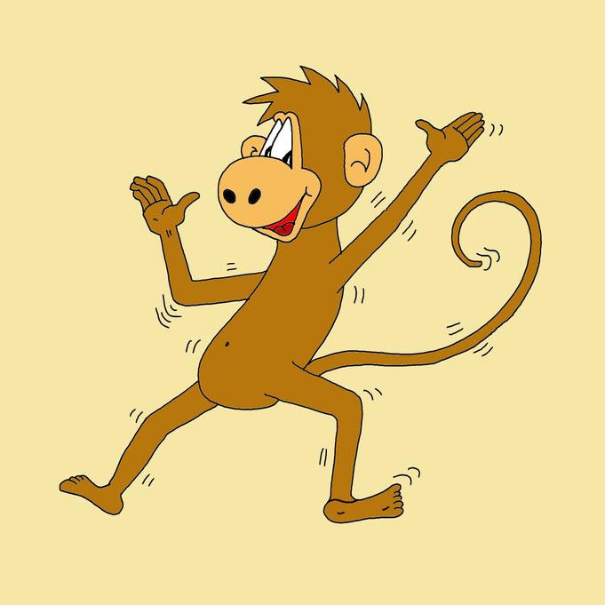 Karikatur Affe, Affentanz