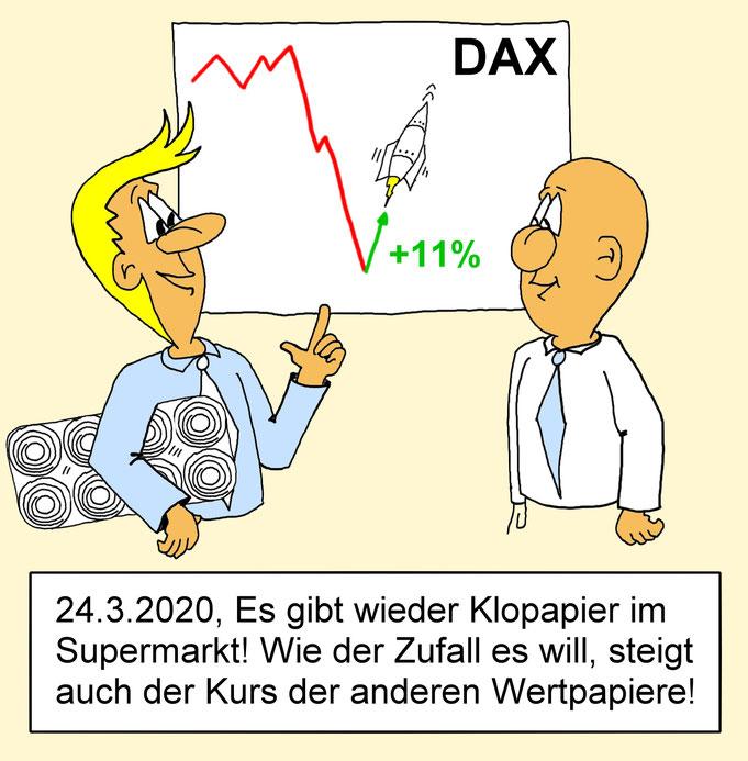 Karikatur Dax, Börse, Wertpapiere, Corona Krise, Klopapier