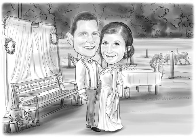 Karikatur vom Foto, Hochzeit, Heirat