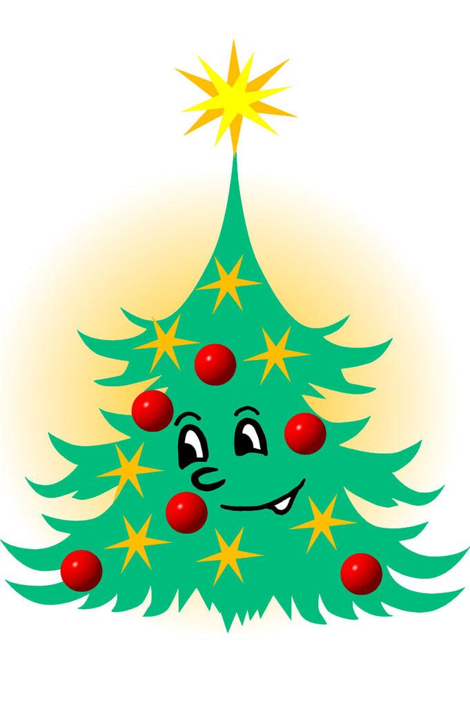 Karikatur Weihnachtsbaum, Zeichnung, Grafik