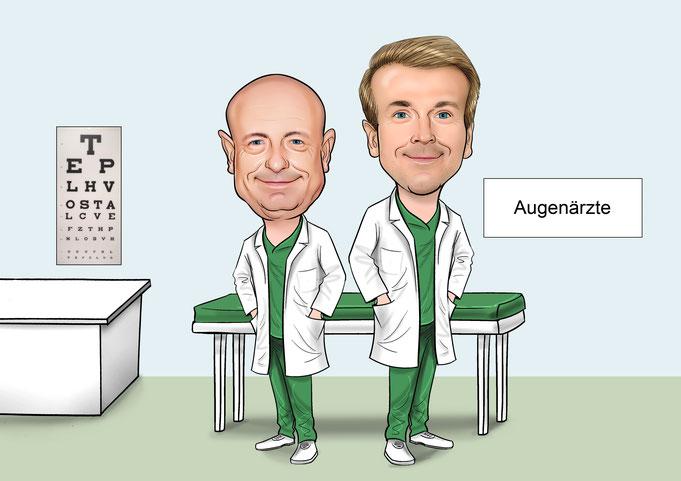 Karikatur vom Foto Arzt, Ärzte, Doktor, Arztpraxis