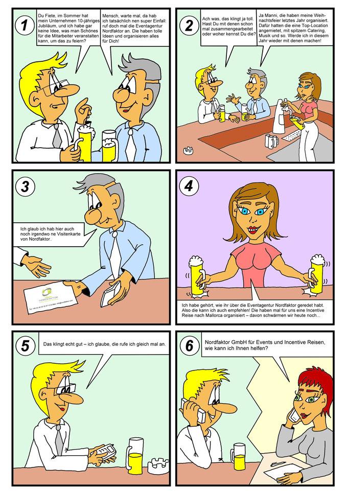 Comic, Cartoon für Eventagentur, Auftragsarbeit