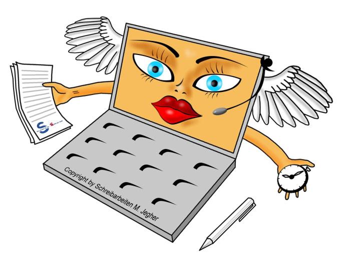 Karikatur Schreibbüro, Logo Schreibarbeiten