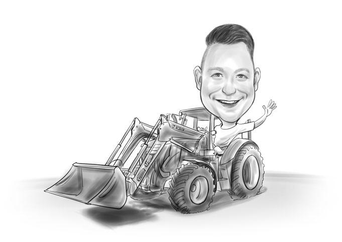 Karikatur vom Foto, Beruf Bauarbeiter, Bleistift, schwarz weiß