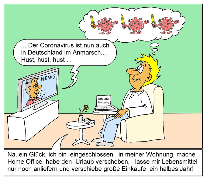 Karikatur Coronakrise, Coronavirus, Home Office, Quarantäne, TV