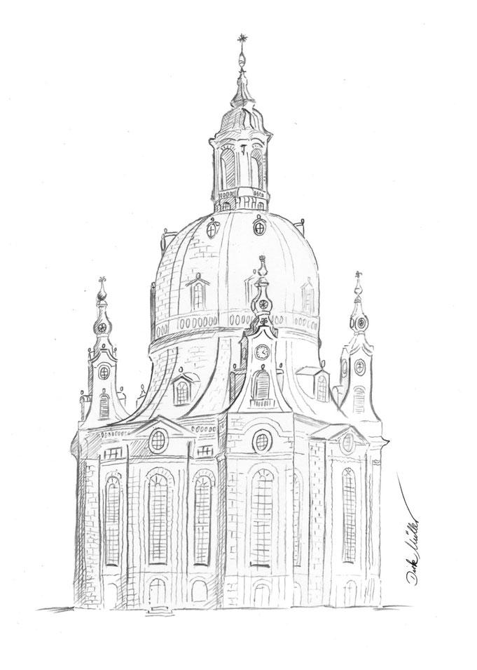 Dresden Frauenkirche, Bleistiftzeichnung, Bleistift