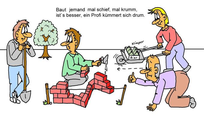 Karikatur Bau, Maurer, Bauarbeiter, Profi