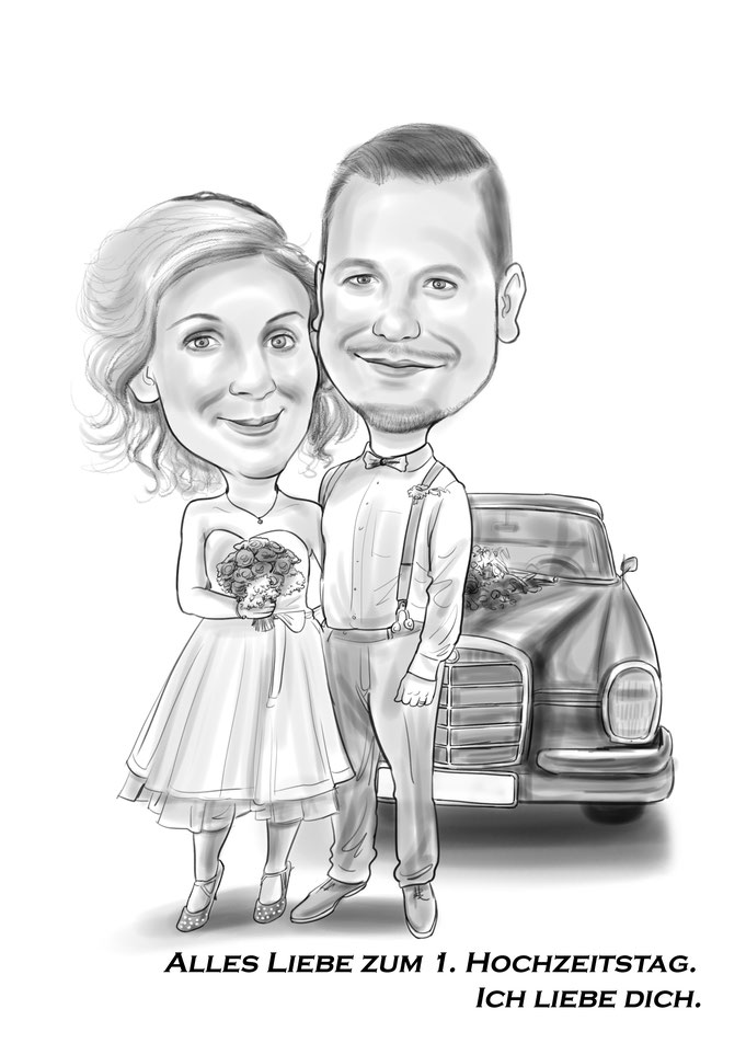 Karikatur vom Foto Hochzeitstag