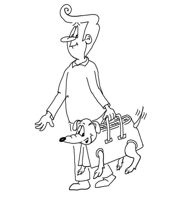 Karikatur Hund in Tasche, U-Bahn New York