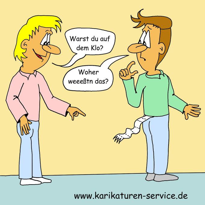 Karikatur WC, Klo, Donnerbalken, Toiletten