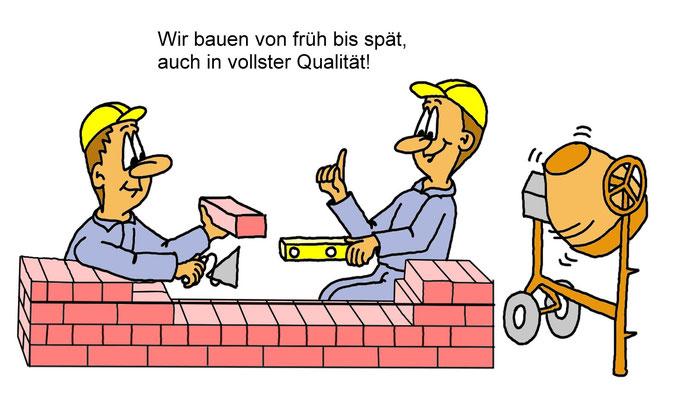 Karikatur Bauarbeiter, Bau, Handwerker für Postkarte