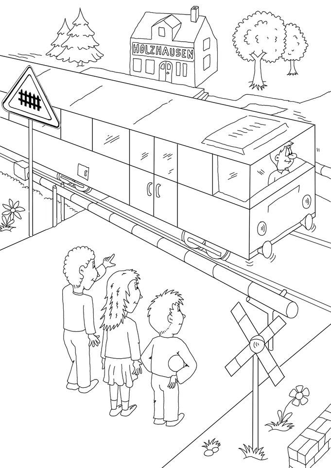 Ausmalbilder Lehrbuch, Straßenverkehr, Bahnübergang, Zug, Bahn, Karikatur