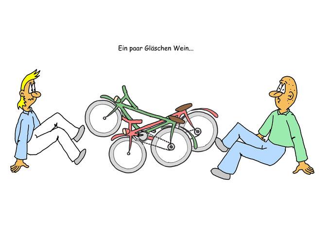 Karikatur Fahrrad Alkohol