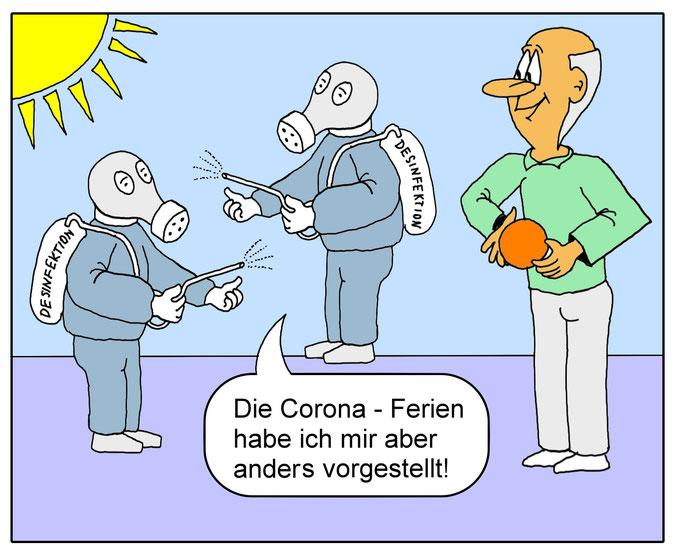 Karikatur Corona Ferien, Schulschließung