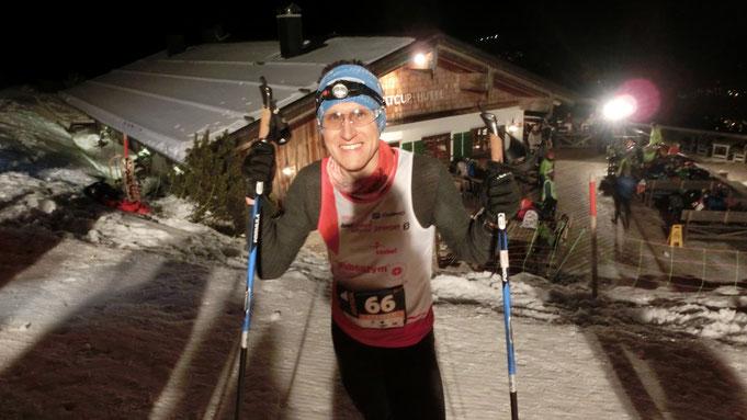 Steffen im Ziel an der Ofterschwanger Weltcuphütte - 29:38 Minuten benötigte er für 3,7 Km bei 591 Hm