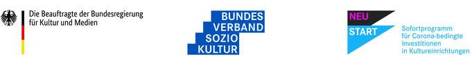 Logos der Förderer: Die Beauftragte der Bundesregierung für Kultur und Medien, Bundesverband Soziokultur, Neustart Sofortprogramm für Corona-bedingte Investitionen in Kultureinrichtungen