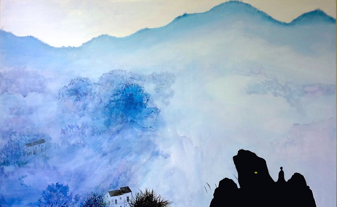 "Blue Mountain, Oil on Canvas, 30""x 48"" /空山素语,布面油畫,76cm x 122cm, 2015"