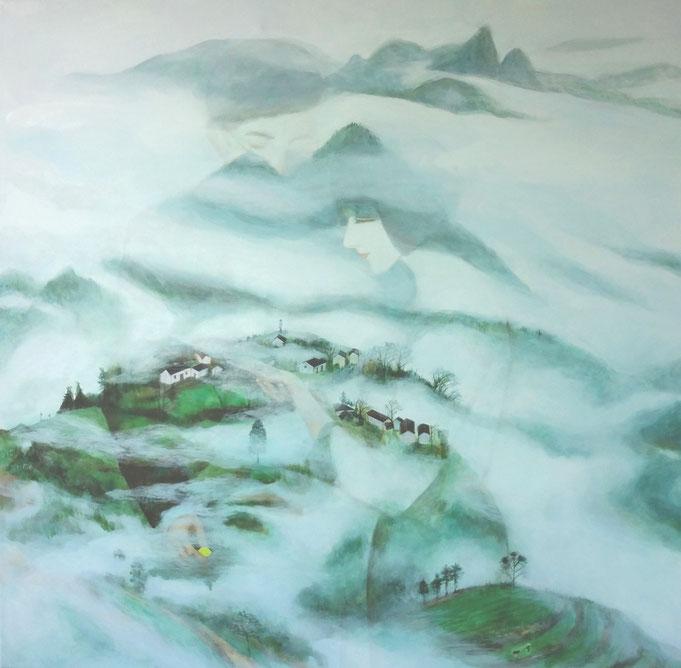 "Cloud Dream, Oil on Canvas, 30""x30"", / 雲夢,布面油畫,76cm x76cm, 2015"
