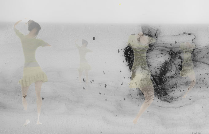 "Spring Dance,Mixed Media on Mylar,24""x36"" /春之舞, 玛拉片混合材料, 62cmx92cm, 2017"