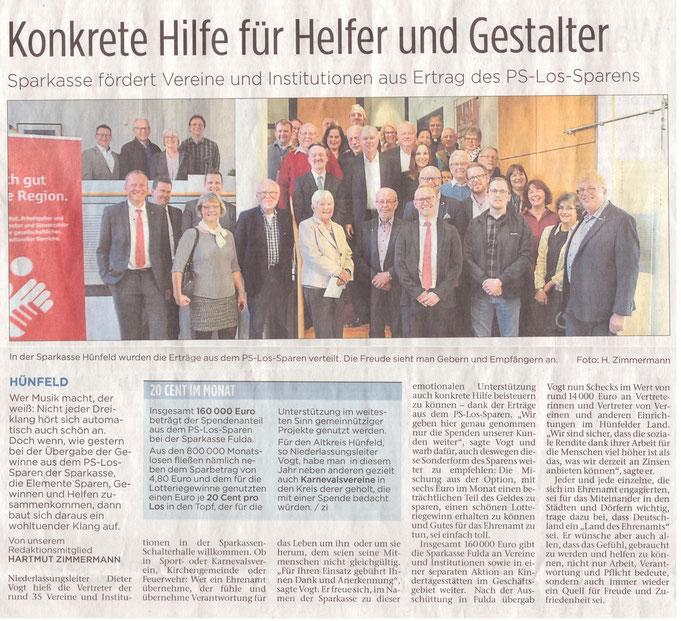 Presseartikel aus der Hünfelder Zeitung vom 27.02.2019