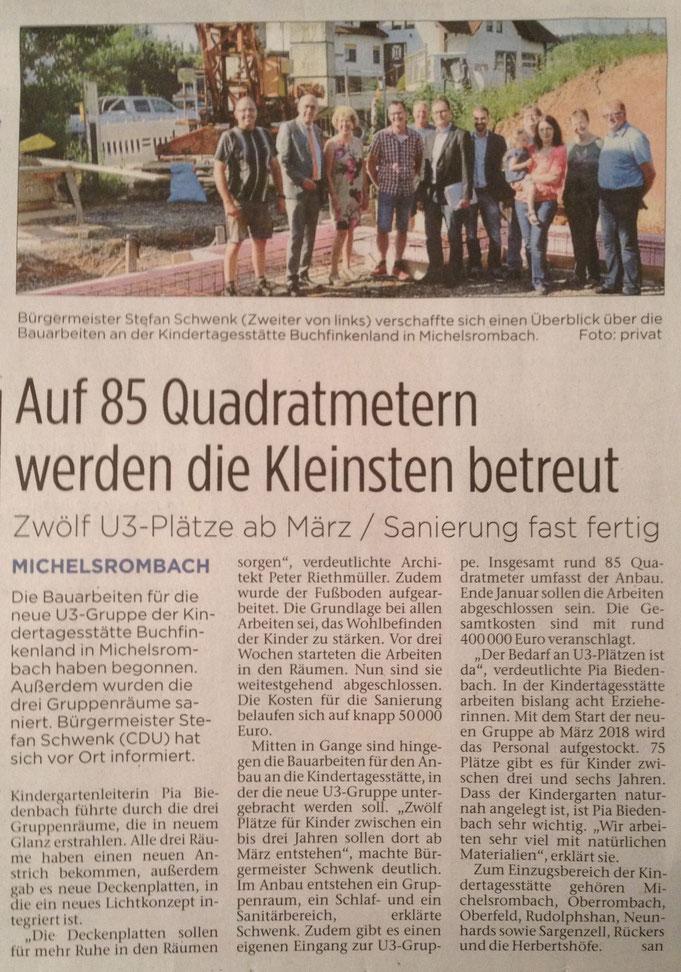Presseartikel aus der Hünfelder Zeitung vom 29.07.2017