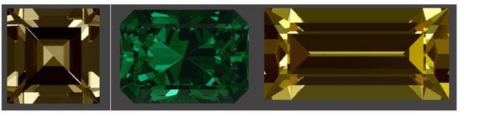 Quadratschliff, Smaragdschliff & Baguettenschliff