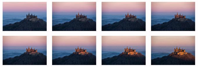 Collage des Sonnenaufgangs an der Burg Hohenzollern - fotografiert vom Aussichtspunkt des Traufgangs.