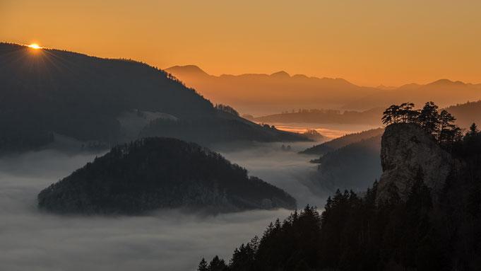 Sonnenuntergang am Belchenflue.