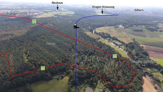 Verlauf der Eisenbahntrasse der ehemaligen Allertalbahn durch den Dragen