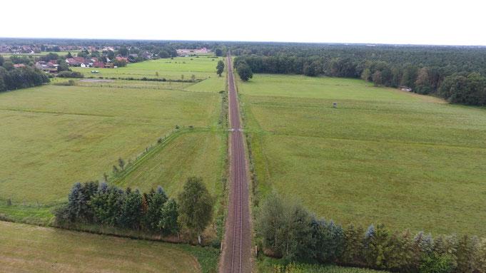 Die Trasse der Mühlenbahn in Richtung Süden
