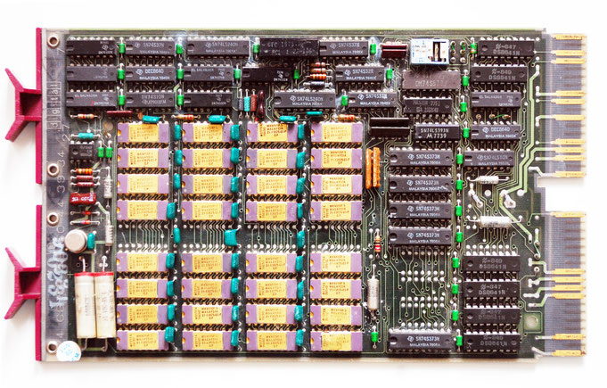 DEC M8045 board with gold plated Mostek RAM DIPs from the late 70's