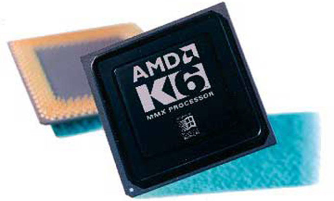 AMD K6 © Advanced Micro Devices. The picture shows an extremely rare black engineering sample K6.