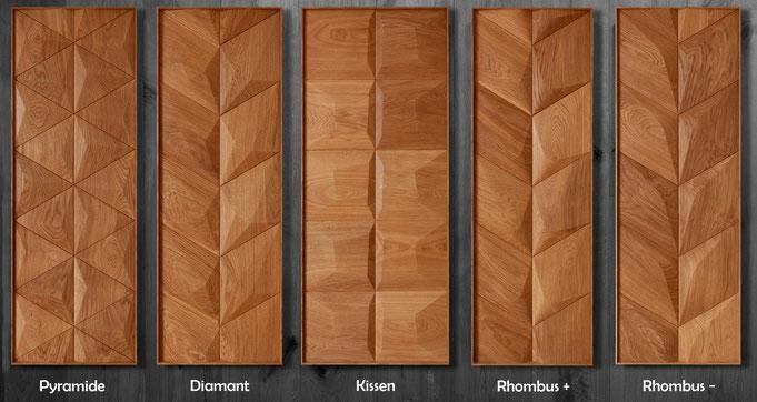 Edle Wandverkleidung Holz 3D Elemente, Formen