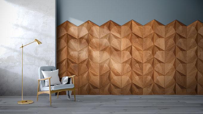 Edle Wandverkleidung Holz 3D Elemente