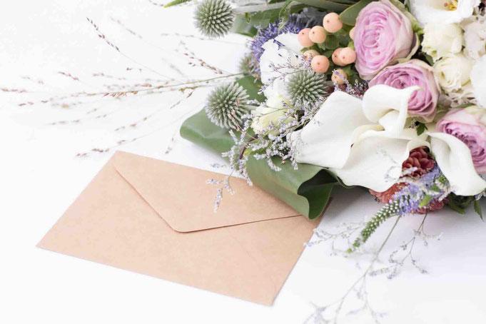 暑中見舞いでお花を贈られた画像です。