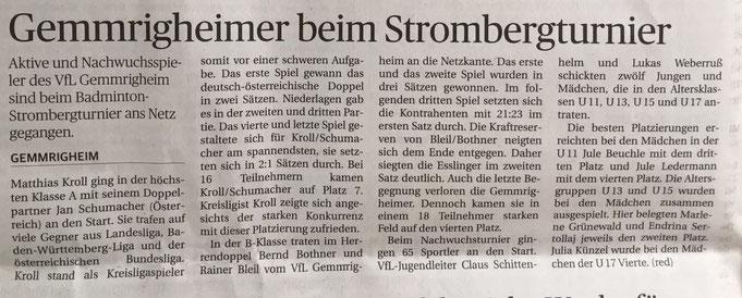 Zeitungsbericht Strombergturnier Illingen 2016