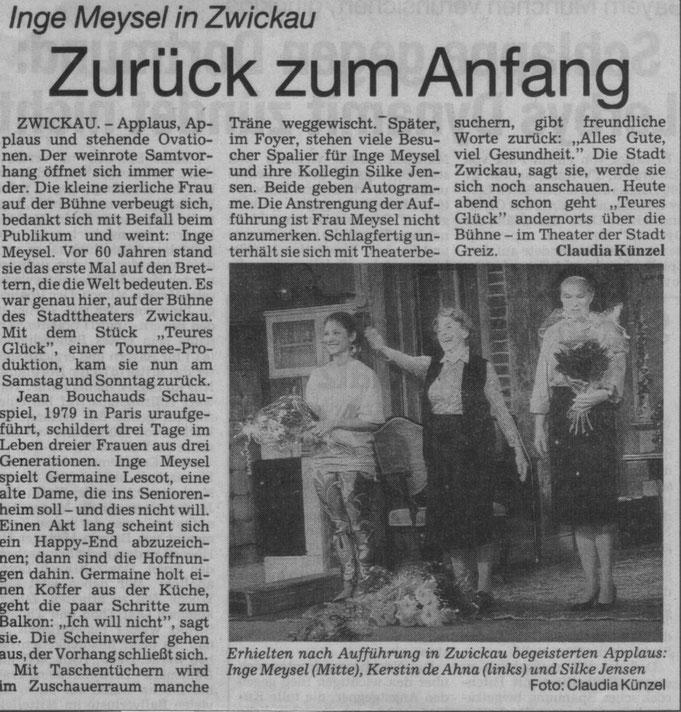 """1988-1995 spielte ich einige 100 Mal mit Inge Meysel und Kerstin de Ahna in dem Stück: """"Teures Glück"""" von Jean Bouchaud"""