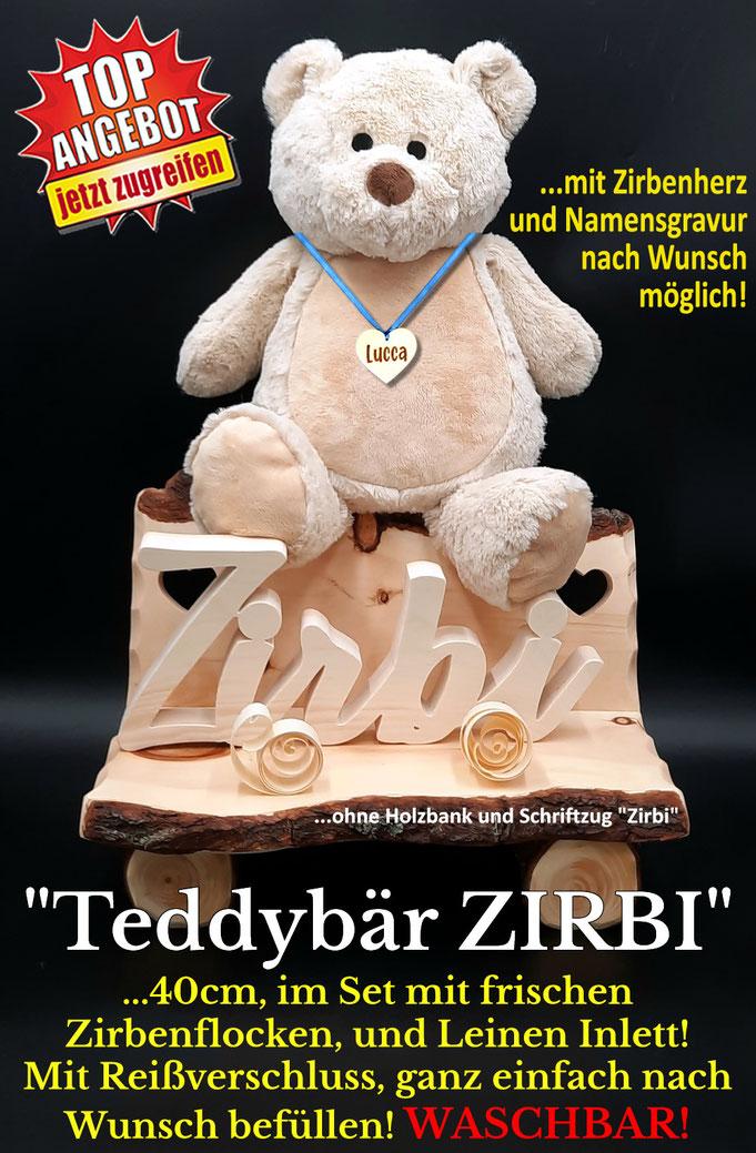 Kuschelbär Zirbi, ein Kuscheltier mit Zirbenholz Füllung, mit frischen Zirbenflocken!