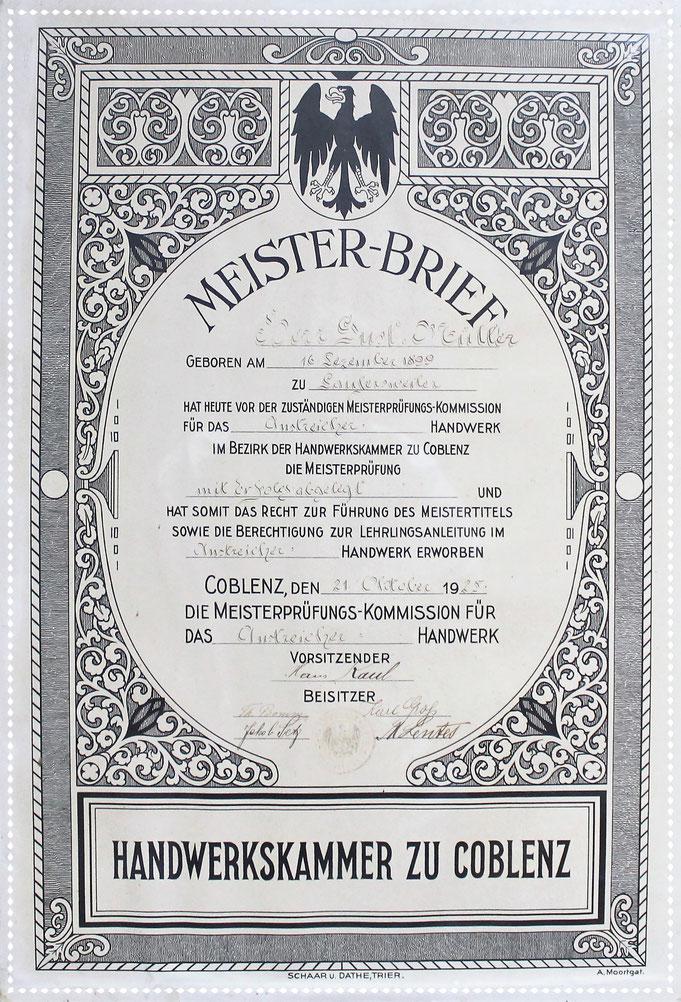 Meisterbrief von 1925