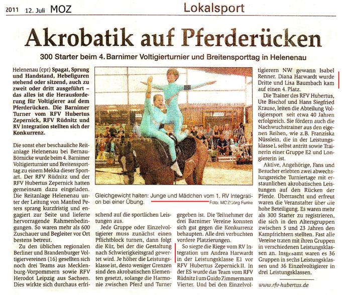 Die Voltigierer des RVI belegen erste Plätze beim Breitensporttag in Helenau, dieser Artikel erschien am 12.07.2011 in der MOZ