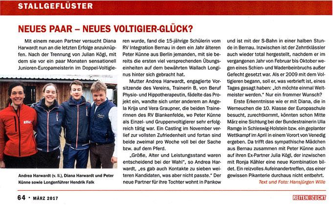 """Das neue Voltigierduo für den RVI, erscheinen in der März 2017 Ausgabe """"Reiten und Zucht"""""""