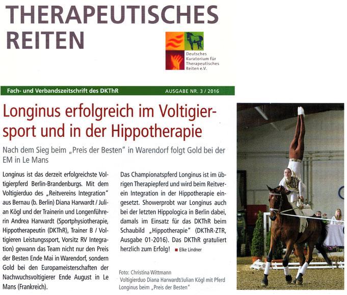 """Voltigierpferd Longinus ist das erfolgreichste Turnierpferd Berlin-Brandenburgs, erschienen in der Ausgabe 3/2016 """"Fach- und Verbandszeitschrift des DKThR"""""""